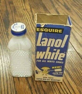 Vintage Esquire Lanol White Shoe Polish Bottle with Applicator & Box,great cond!