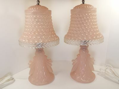 Vintage Pair of Pink Frosted Glass Table Lamps Boudoir Nightstand Lights