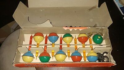 NOMA CHRISTMAS BUBBLE LIGHTS 1950's SNAP-ON LOT 9 LIGHTS, GLASS SLUGS IN BOX