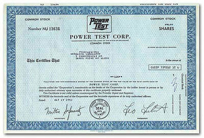 Power-Test Corp. Stock Certificate
