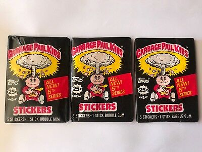 1986 Topps Series 5 Garbage Pail Kids Stickers Lot (3) Unopened Wax Packs! NEW