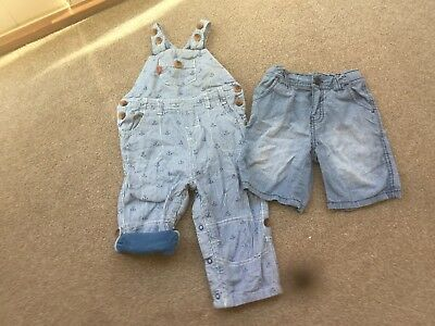 John Lewis cute anchor dungarees and Mothercare shorts. Summer. Age 9-12 months.