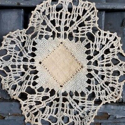 Early Antique Lace Handkerchief Linen Doily Hand Woven Drawn Thread Crochet Trim