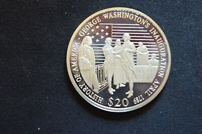2001 Republic of Liberia History Of America $20 Proof Silver Coin .999