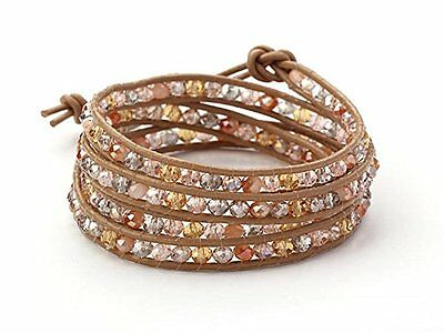 Multi Colour Crystal Beads on Brown Leather Cords Wrap Bangle Bracelet
