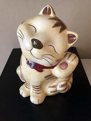 CKAO Ceramic Cat Cookie Jar Tan And Brown Smug Cat w/ Dark Red Collar