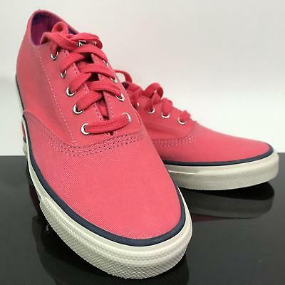 NEW Ladies Top Sider SPERRY Nautical Boat Pink Canvas Lace Up Sneakers Shoes 6.5