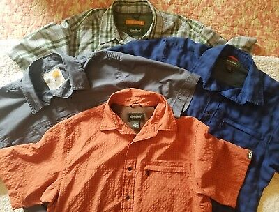 Eddie Bauer Mens SS Button Up Hiking/Camping Shirts Size Medium Lot Of 4! VGUC!