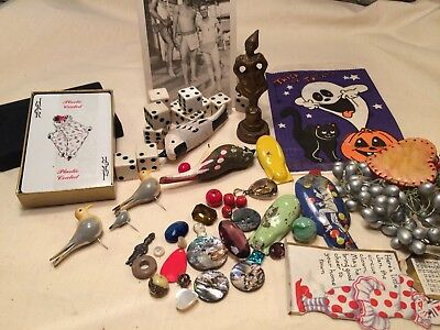 Old Junk Drawer Lot- Nice Assortment Birds, Stones Misc.