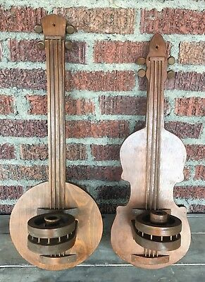 """PAIR Vintage MUSIC BANJO FIDDLE American WALL Wood Candle Holder Sconces 23"""" 25"""""""