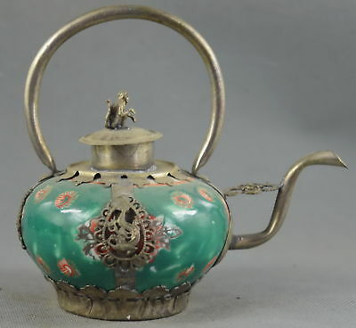 China Collectable Miao Silver Carve Dragon Monkey Inlay Porcelain Amulet Tea Pot