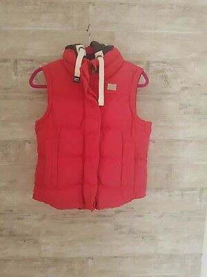 Womens Pink Superdry Gillet/Body Warmer with Hood, size small
