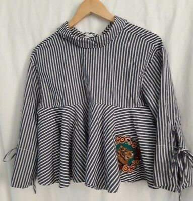 ●Zara Trafaluc● Quirky Blue/white Stripe Tie Smock Top ●Tiger Embroidery●M/12/14