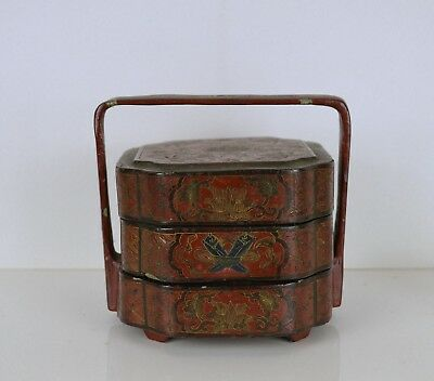 A Rare Chinese 19Th Century Lacquer Stacked Food Box