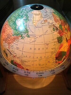Vintage Rotating Sunlit Lighted World Globe of Seattle With Wood Base