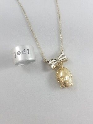 Star Wars C3PO Necklace - gold - with bow - by 10pm 10 pm & Jedi ring C3 PO