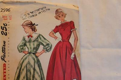 Vtg 1950's Simplicity Pattern #2596 Teenage Size 12 One Piece Dress