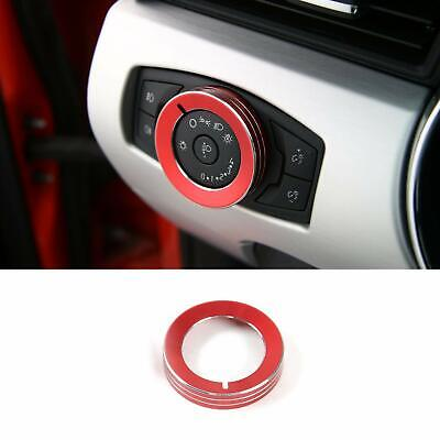 Red Headlight Switch Knob Cover Alloy Button Trim Decoration for Ford Mustang