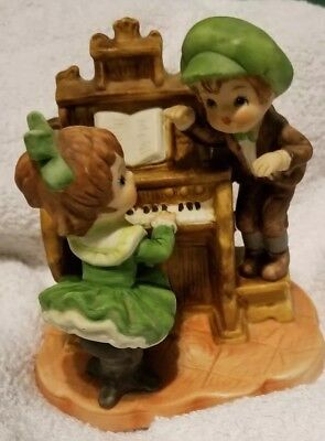 Vintage Little Girl Playing the Piano with Boy Ceramic Figurine