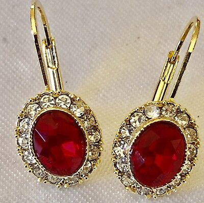 Yellow Gold Tone Bezel Set Ruby Red  & Clear Crystal Lever Back Pierced Earrings