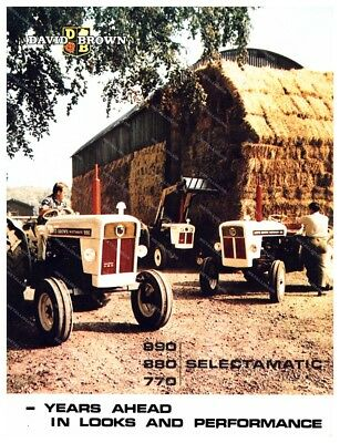 DAVID BROWN 990 880 770 - Tractor Advertising - Poster (A3) - NEW