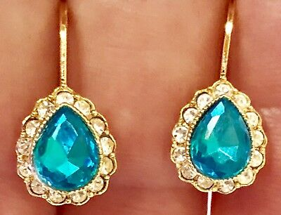 Yellow Gold Tone Bezel Aquamarine Blue Clear Crystal Lever Back Pierced Earrings