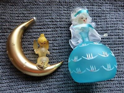 Vtg figural hand blown glass two Angels Christmas ornaments Made in Italy