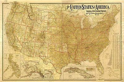 POSTER PRINT ANTIQUE American Map North USA Canada - EUR 16,69 ...