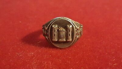 Vtg US Army Corps Engineers Castle Sterling Silver Ring sz 5 1/4 sm