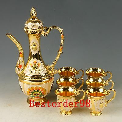 A Set Chinese Exquisite Cloisonne Handwork Carved Peacock Flagon & Cups CC0621