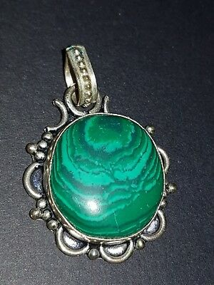gorgeous malachite ladies sterling silver filled pendant