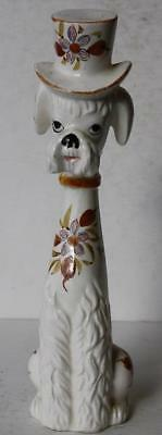 White French Poodle Dog Figure Ceramic-Porcelain Made in Japan-Hand Painted-Hat