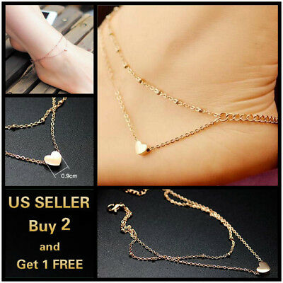 Double Layer Gold Heart Anklet Ankle Bracelet Foot Chain