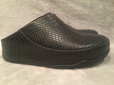 FITFLOP Gogh Moc Snake Embossed Black Leather Clogs US 6 M