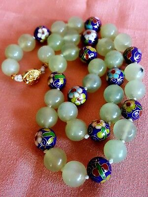VTG Chinese Cloisonne Celadon Jade Beaded necklace