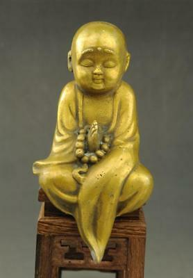 Chinese old fengshui copper monk Chanting statue hand-carved  c01