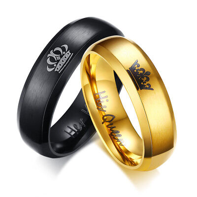 Her King His Queen Couple Band Rings Wedding Engagement Stainless Steel Promise