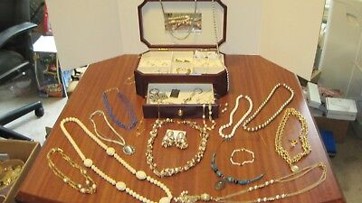 Large Lot Of 36 Pcs. Of Vintage Jewelry And The Box From A Local Estate