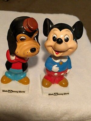 Vintage Mickey Mouse and Goofy Bobble Head Nodder Disney Bobblehead