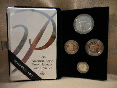 1998-W Platinum American Eagle Proof Four-Coin Set 1.85 oz. w/ Mint Box Case CoA