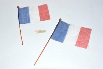 "2 VTG MINIATURE SILK FLAGS France 1950s 3 1/2""  CRAFTS, Doll, House Accessories"
