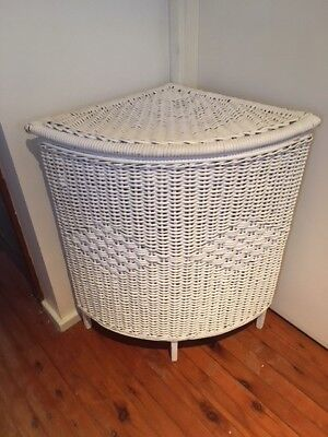 Antique white wicker cane laundry storage basket