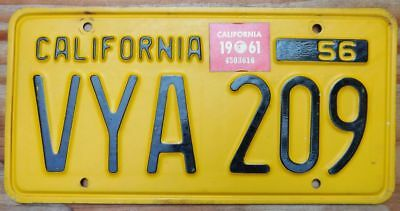 Original 'natural' HI quality 1956 single sticker 1961 CALIFORNIA license plate