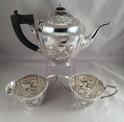 c1890 British Colonial Raj Indian Sterling Silver Calcutta Tea Set SIGNED J.N.S