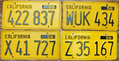 4 HI qual 1956 base CALIFORNIA license plates no stickers non-pass ALL 4-1-bid