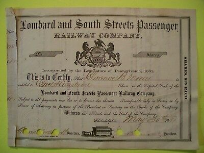 Lombard and South Streets Passenger Railway Company. Stock Certificate.Cancelled