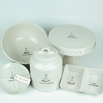 Lot of 5 Rae Dunn I BELIEVE IN CELEBRATING Cake Stand/Bowl/Canister/4-Plate-Set