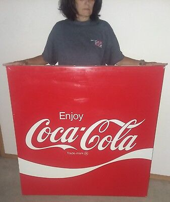 "Vintage "" Enjoy Coca Cola "" Original Authentic Large Metal Sign 44"" x 44"" COKE"