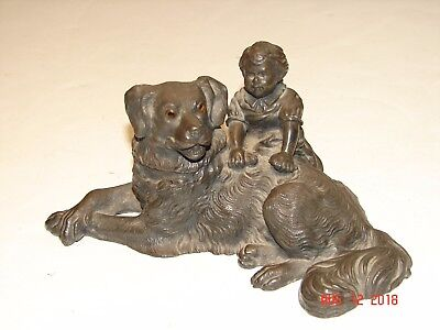RARE Vintage WILCOX SILVER PLATE CO - DOG W/ GLASS EYES & GIRL INK WELL Inkwell