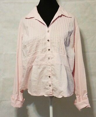 Cato Women's 18W 20W  Pink Long Sleeve Button Down Shirt Top V-Neck